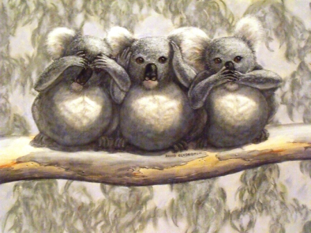 "Three wise koalas - See no evil, hear no evil, speak no evil. ""He who walks righteously and speaks uprightly, who stops his ears from hearing of bloodshed, and shuts his eyes from seeing evil: He will dwell on high..."" Isaiah 33:15a, d, e; 16a. Tracts4free.WordPress.com."