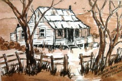 Australian outback homestead in sepia.