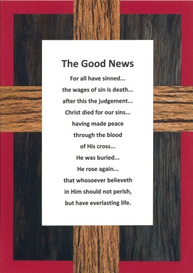 """The old rugged cross"" gospel message poster."