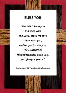 """Bless You"" Bible poster, rugged cross background."