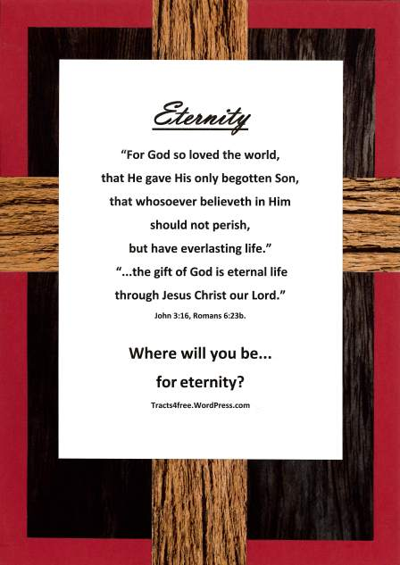 """Eternity"" Christian poster, rugged cross background."