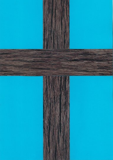 Old rugged cross, blue background.