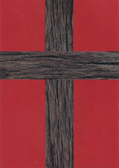 Old rugged cross, red background