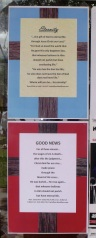 Evangelism posters displayed on a public notice board.