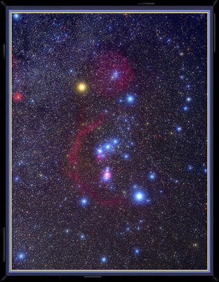 Constellation Orion. The three stars in a row are Orion's Belt. Photo: 19thpsalm.org.