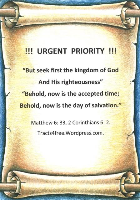 """""""Urgent Prority"""" gospel poster."""