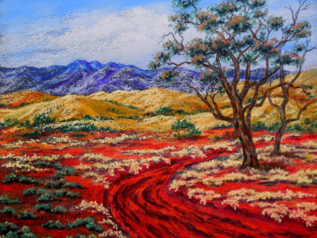 Wilderness Way. Pastel Australian Outback painting by Sian Butler.