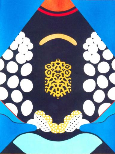 Abstract painting of the design of the Clown Triggerfish. Acrylic painting by David Clode.