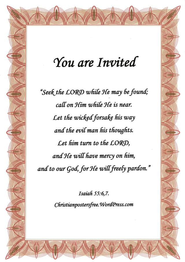 """You are Invited"" evangelism poster by David Clode."