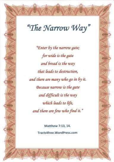 Matthew 7:13,14 Bible verse poster.