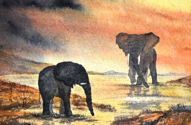 """Reunion"". Watercolour elephant painting by Sian Butler."