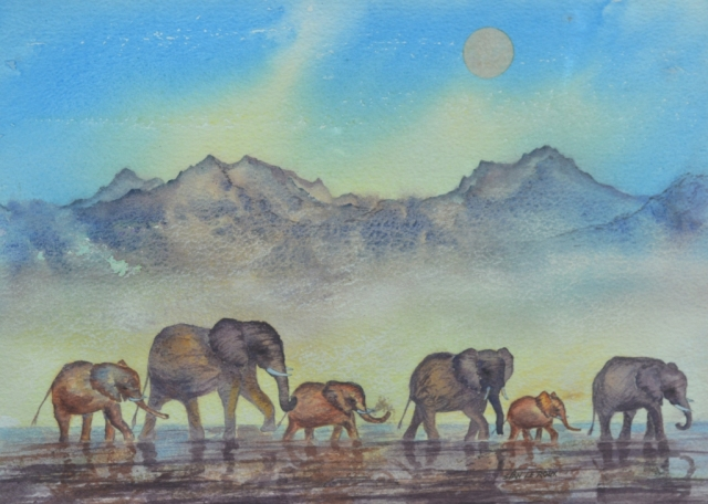 Watercolour elephant painting by Sian Butler.