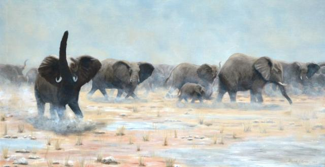 """Matriarch defending the herd"". Acrylic elephant painting by David Clode."