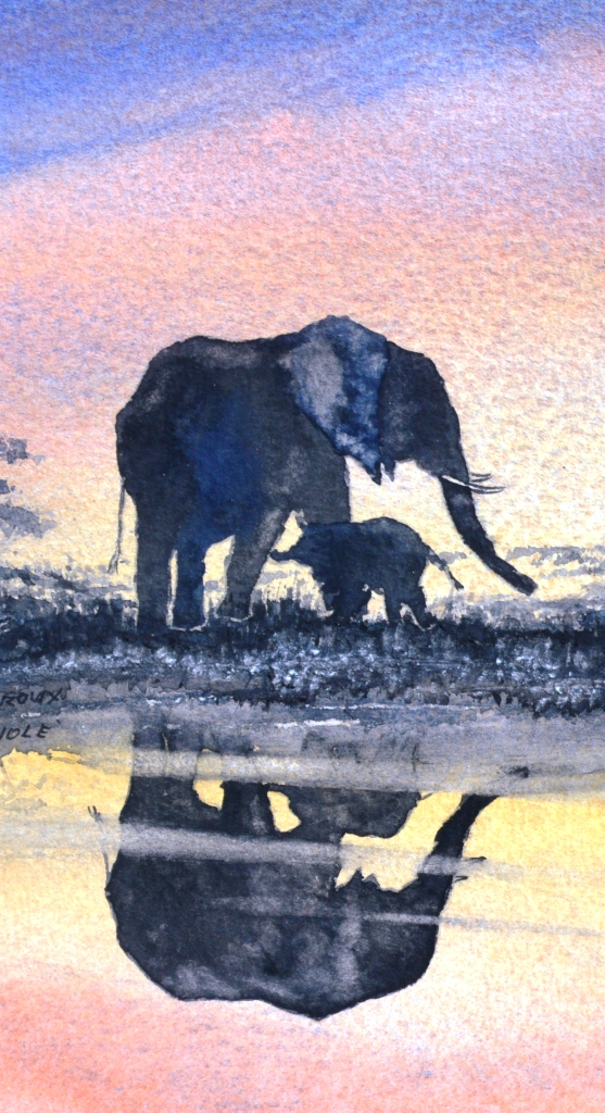 """A mother's love"". Watercolour elephant painting by Sian Butler."