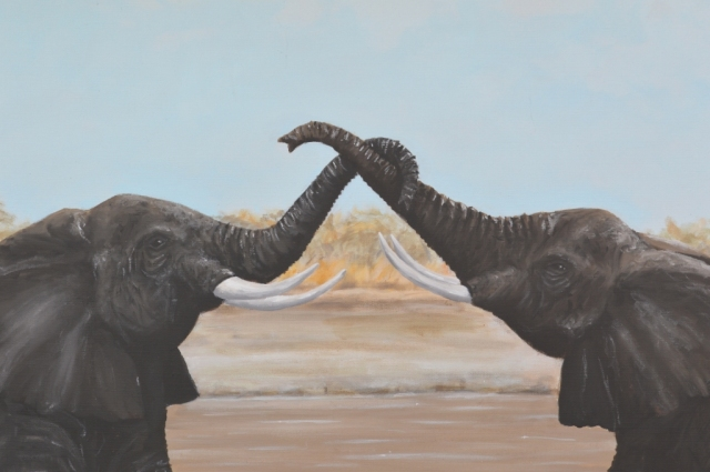 """Greetings"" Acrylic elephant painting by David Clode."
