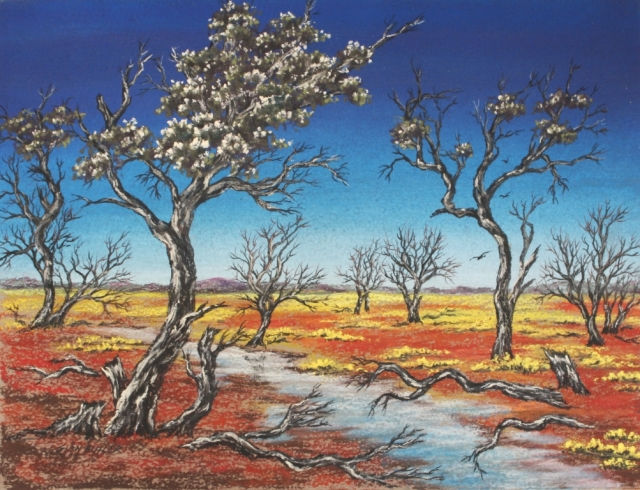 Outback scene. Australian outback painting in pastel by Sian Butler.