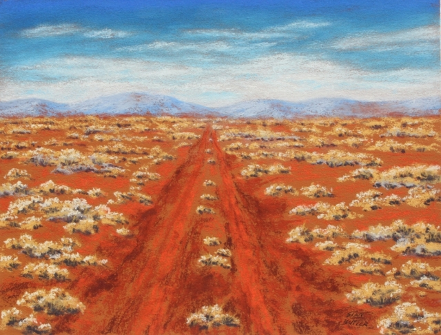 Outback track. Pastel painting by Sian Butler.