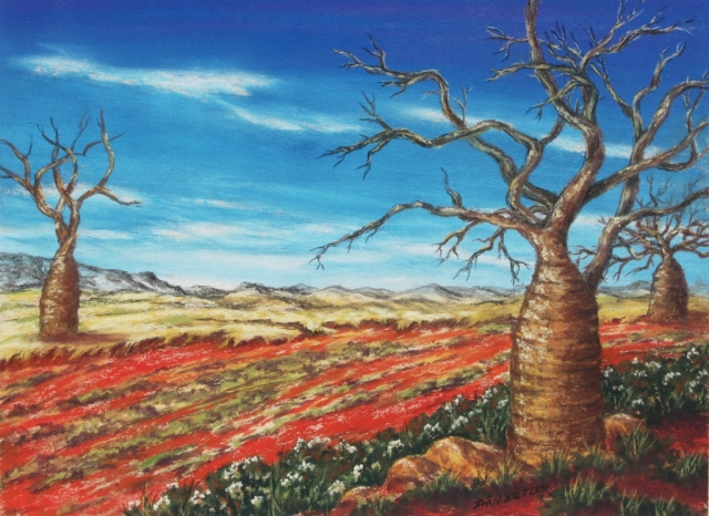 Outback Boabs. Painting by Sian Butler in pastel.