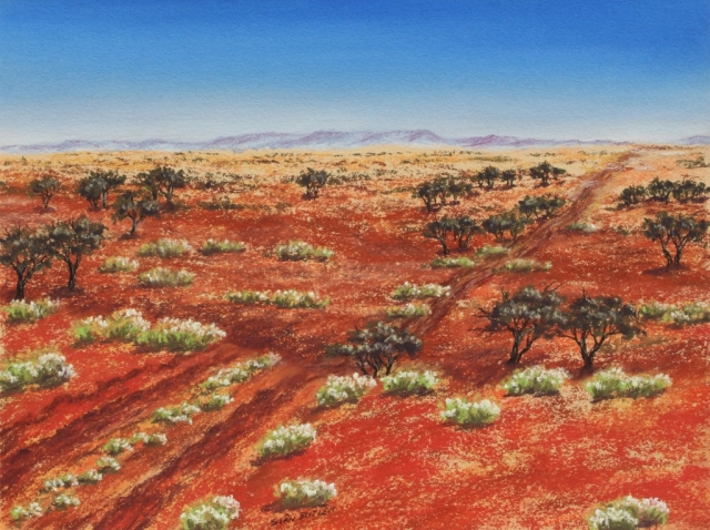 Wanderings in the wilderness. Australian Outback painting by Sian Butler.
