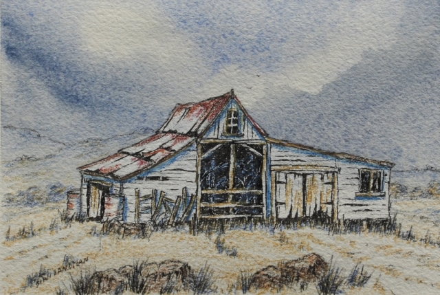 Humble Outback Shed. Water colour Painting by Sian Butler.