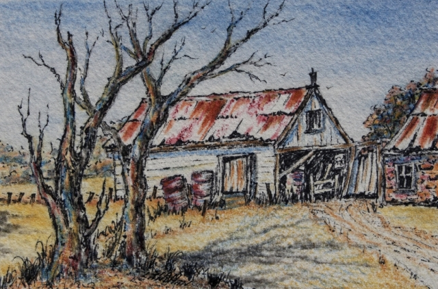 Outback homestead painting in water colour by Sian Butler.