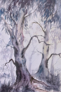 Gum trees in the mist. Watercolour painting by Sian Butler.