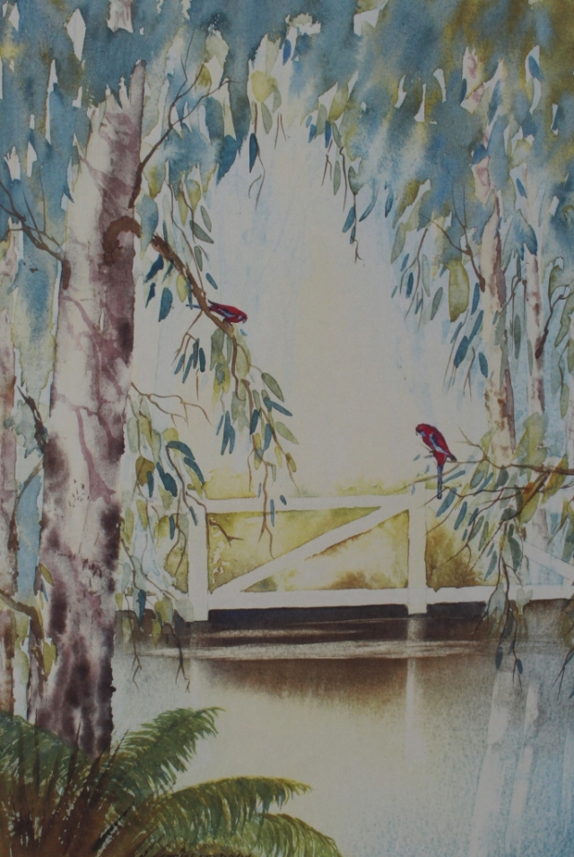 Crimson Rosellas. Watercolour painting by Sian Butler.