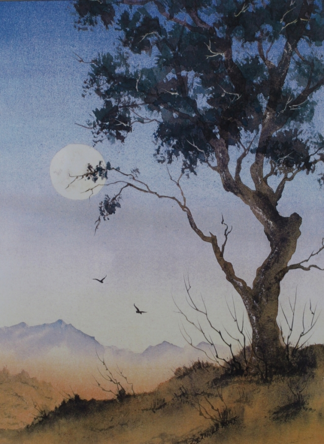 Tasmanian Moon. watercolur painting by Sian Butler.