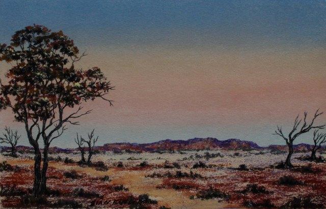 Outback dusk. Pastel Australian Outback landscape by Sian Butler.
