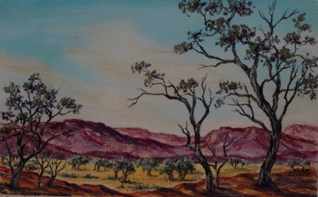 Outback scenery. Pastel by Sian Butler.