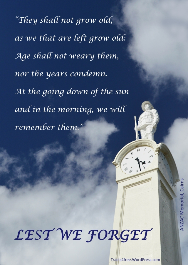 """""""Lest We Forget"""" Anzac memorial poster, Cairns esplanade, Australia. Poster by David Clode."""