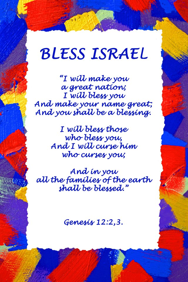 Bless Israel poster. The background artwork is based on the colours of the priesthood.