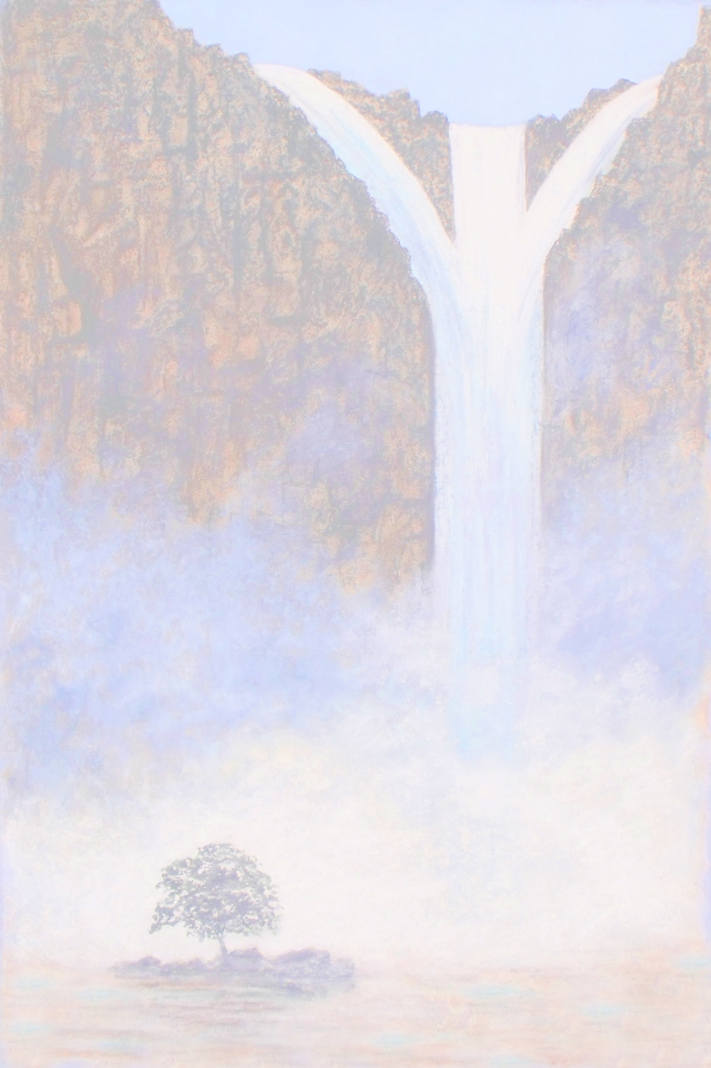 Pale tree by river of water background. Artwork by David Clode..