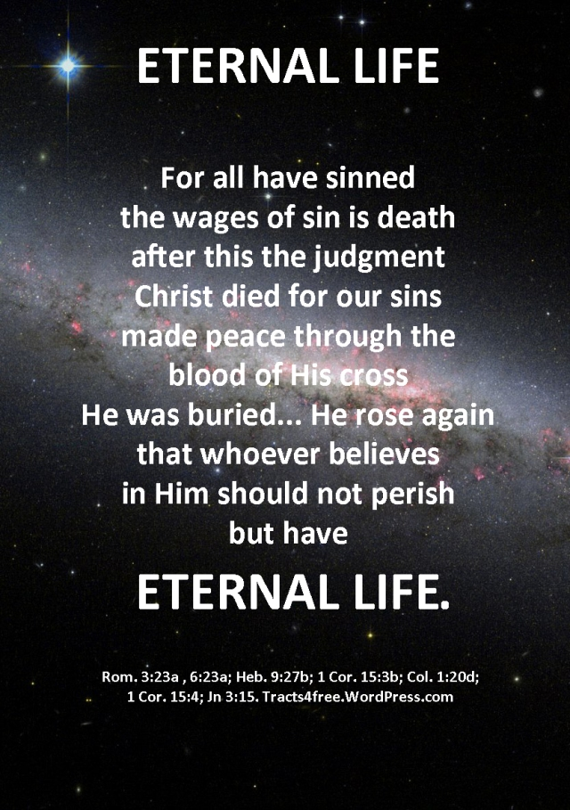 """Eternal Life"" Christian gospel poster."