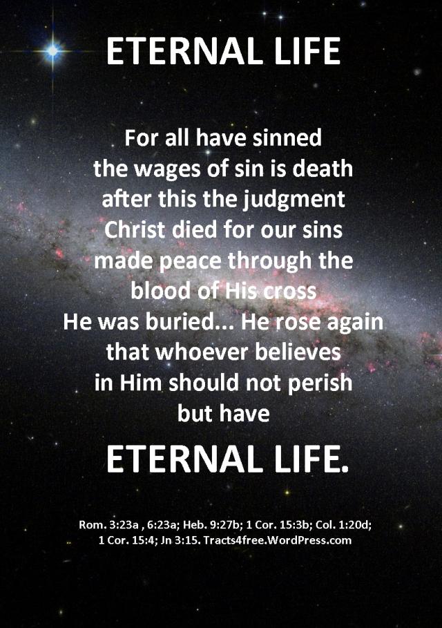 """""""Eternal Life"""" Christian gospel poster."""