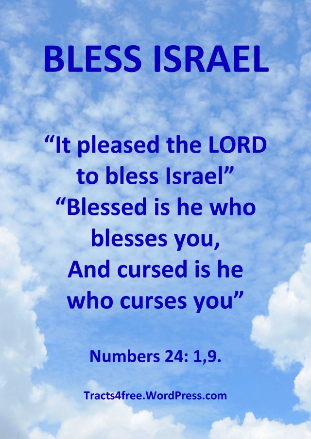Bless Israel. Numbers 24: 1,9. Bless Israel poster by David Clode.