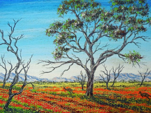 """Life in the Outback"". Pastel painting by Sian Butler."