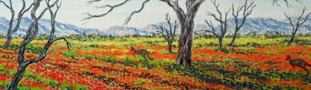 Kangaroos in a wide brown land. Pastel Australian Outback panorama by Sian Butler.