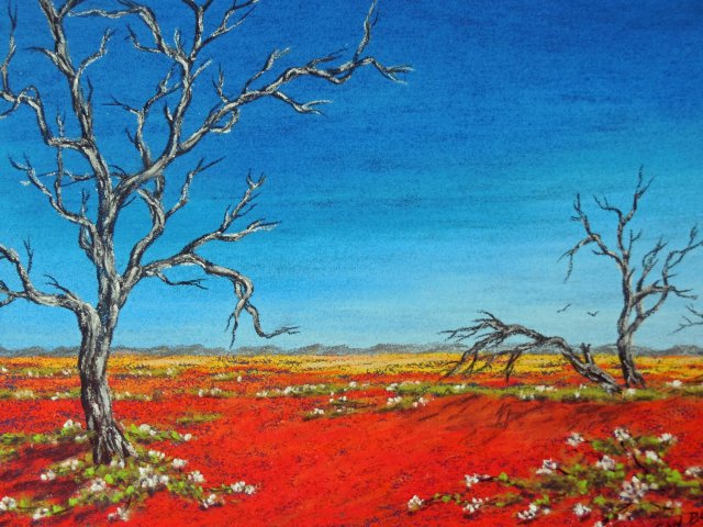 """Only bushes and birds remain"". Western Australian Outback painting by Sian Butler."