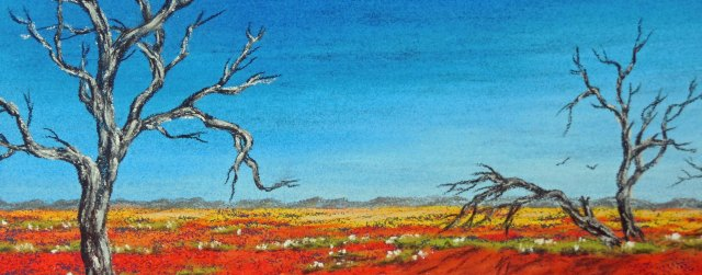 Australian Outback Panorama. Pastel painting by Sian Butler.