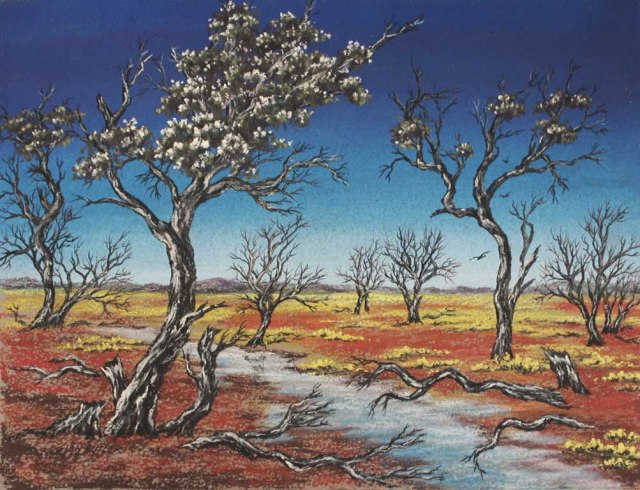 Central Australian Outback Scene. Pastel painting by Sian Butler.