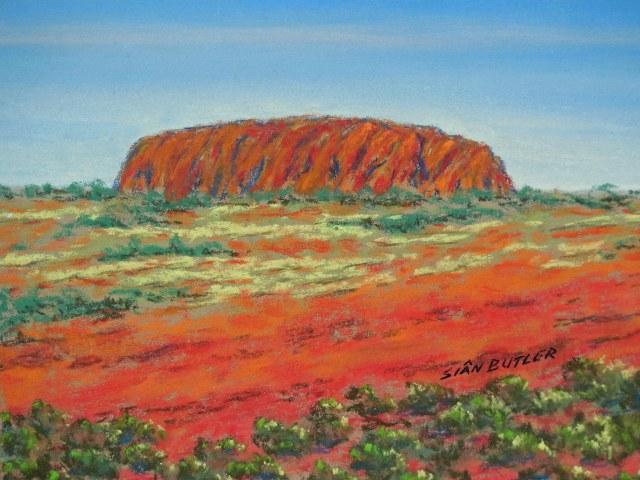 Uluru. Pastel painting by Sian Butler.