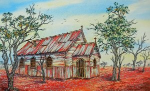 Old church in the red heart of Australia. Pastel painting by Sian Butler.