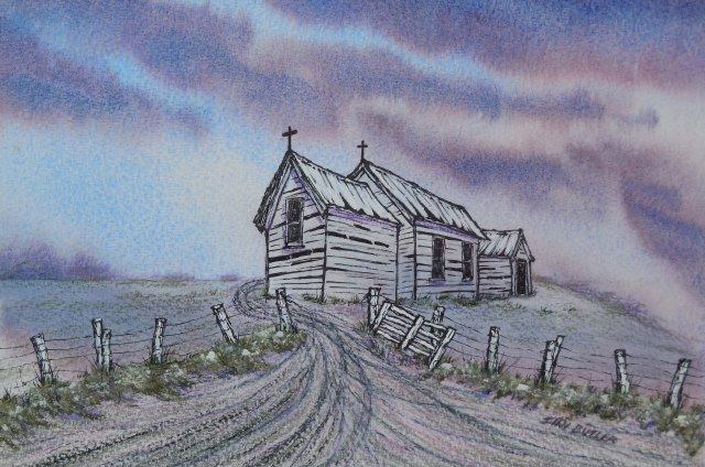 Church on a hill. Painting by Sian Butler.