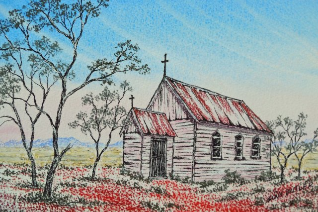 Australian Outback church. Pastel painting by Sian Butler.