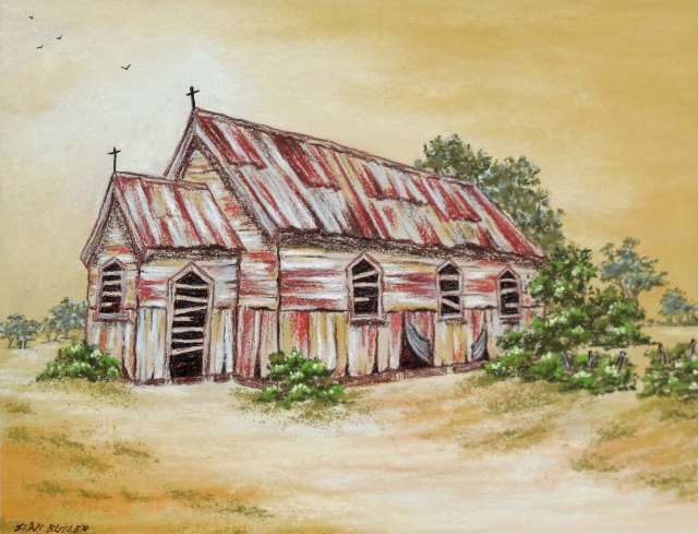 Gold church. Painting by Sian butler.