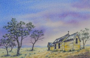 Old Outback church. Painting by Sian Butler.