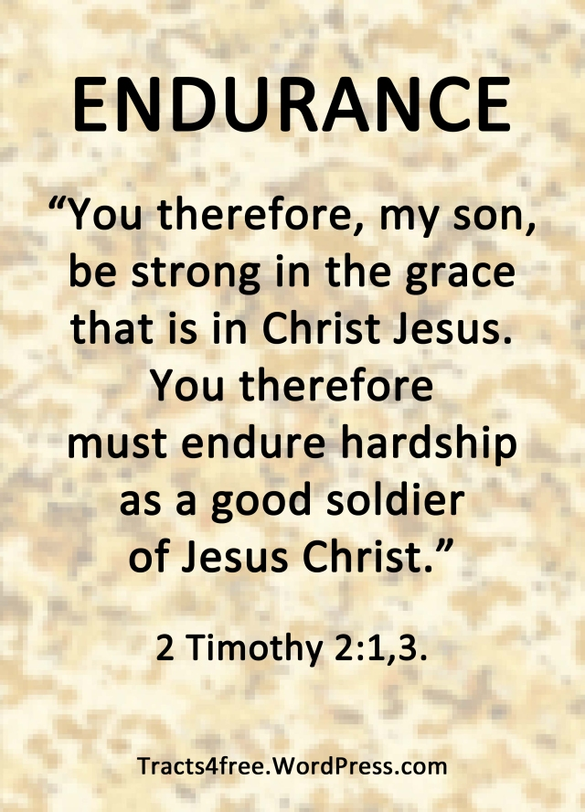 2 Timothy 2:1,3. Endurance Bible verse poster.