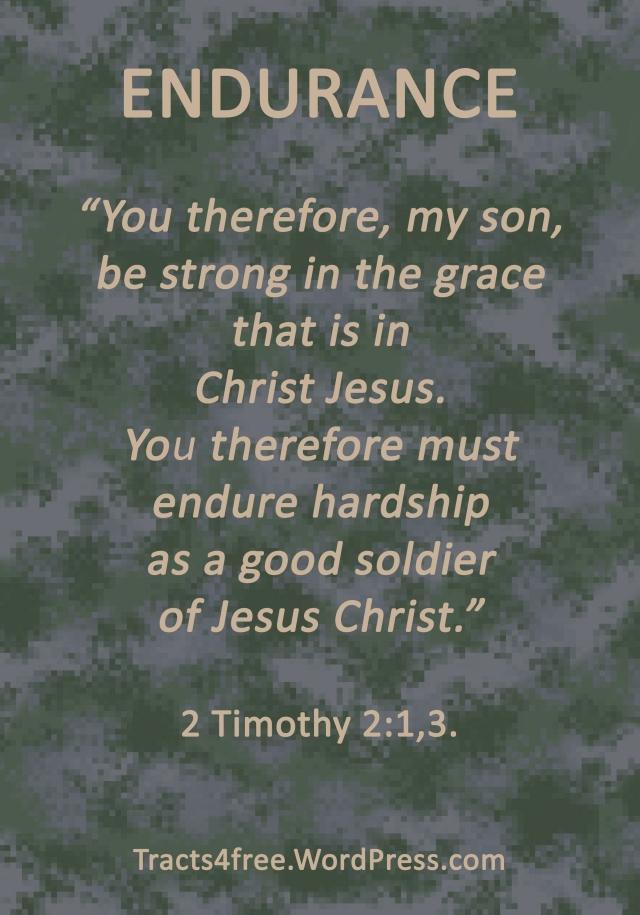 Endurance Christian poster. 2 Timothy 2:1,3.