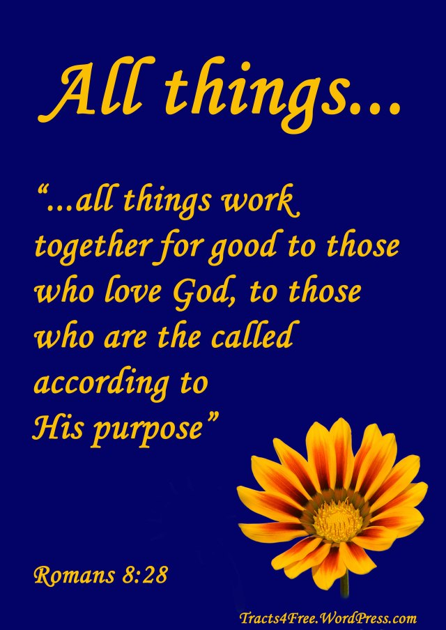 Romans 8:28 Christian poster by David Clode.